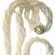 Vintage, Freshwater,  6 Strand, Rice Pearl Necklace and Bracelet Set