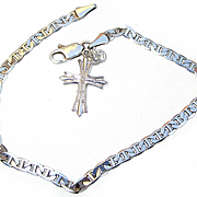 Sterling Silver Bracelet and Cross