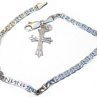 Sterling Silver Bracelet and Cross