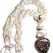 Freshwater Pearl Necklace with Fossil Pendant