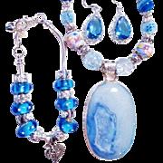 3 Pc. Blue  Agate Druzy/Lampwork Necklace/Bracelet/Earrings Set