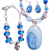 3 Pc. Blue  Agate Druzy/Lampwork Necklace/Bracelet/Earrings Set