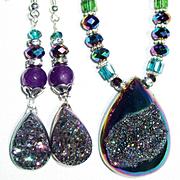 Titanium Druzy Necklace/Earring Set