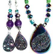Titanium Druzy Necklace/Earring Set