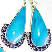 Aqua Agate/Druzy Necklace/Earrings