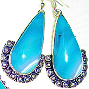 Aqua Agate/Druzy Necklace/Earrings