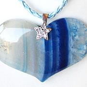 Blue Striped Agate Heart Pendant/Earrings
