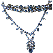 Vintage Bright Blue Rhinestone/Necklace/Bracelet/ Set