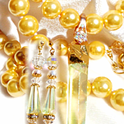 Aurora Crystal on Shell Pearl Necklace/Earring Set