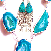 Vintage Chrysocolla Earrings/5 Druzy Agate Necklace