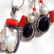 Biwa Pearl, Red Coral/Black Onyx Necklace/Earring Set