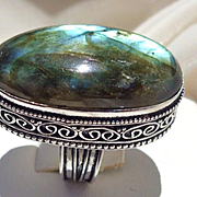 Beautifully Framed Labradorite Ring-8 1/2