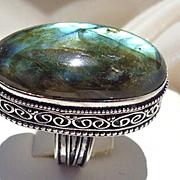 Beautifully Framed Labradorite Ring-8 1/2