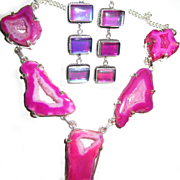 Bright Fuchsia Druzy Necklace/Color Changing Earrings