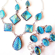 "3 Pc. Turquoise ""Fish Scale"" Necklace/Bracelet/Earring Set"