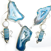 5 Druzy Blue Agate Necklace/Earrings