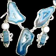 5 Druzy Blue Agate Necklace/Earrings