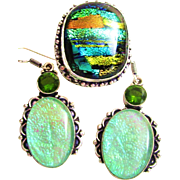 Dichroic Glass/Earring Set