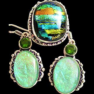 Dichroic Glass/Earring Set