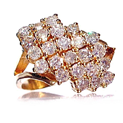 Vintage 14 K Gold Diamond Cluster Ring-8 1/4
