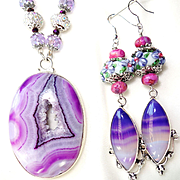 Purple Druzy/Crystals/Lampwork Beads/Earrings
