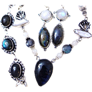 3-Piece Labradorite/Pearl/Moonstone/Sterling Set