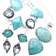 3 Piece Amazonite Necklace, Bracelet, Earring Set
