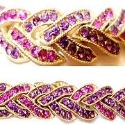 Rare Vintage Crown Trifari Purple Rhinestone Bracelet