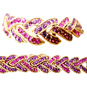 Rare Vintage Crown Trifari Purple Rhinestone Bracelet
