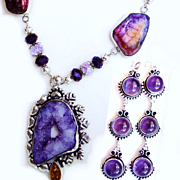 Amethyst Druzy/Earrings/Veined Agate Necklace