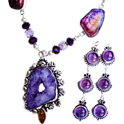 Amethyst Druzy/Earrings/Veined Agate Necklace