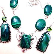 Malachite Necklace/Botswana Striped Agate Earrings
