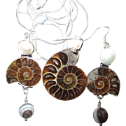Ammonite/Pearl/Necklace/Earring Set