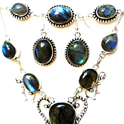 3-Piece Labradorite Necklace/Bracelet/Earring Set
