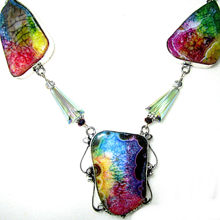 Rainbow Colored Agate Druzy Necklace/Green Crystal Earrings