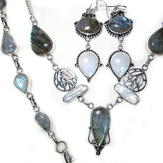 3-Pieces of Fire Blue Streaked Labradorite/Moonstone/Biwa Pearl/Sterling Set