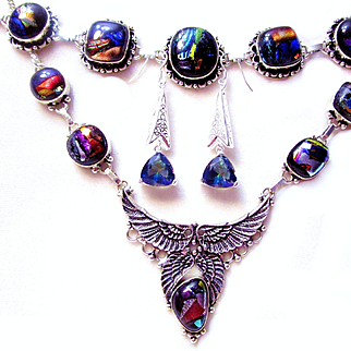 3-Piece Colorful Dichroic Glass Winged Necklace/Bracelet/Mystic Topaz Earring Set