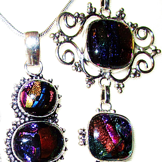 Bright Colored Dichroic Glass Necklace/Bracelet/Earrings