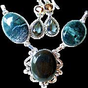 Bloodstone/Moss Agate Necklace/Crystal Earrings
