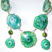 Enhanced Green/Teal Solar Quartz Necklace/Earrings Set