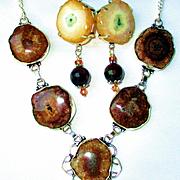 Brown Solar Quartz Necklace/Earrings