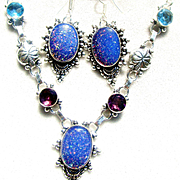 Dichroic Glass Necklace and Earring Set