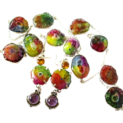 """36"""" Colorful Necklace with 11 Druzies and Matching Earrings"""