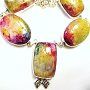 Bright Colored Agate Druzy Necklace