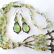 Rutilated Quartz Necklace and Prehenite Earrings