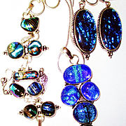 Royal Blue Dichroic Glass Set-3 Piece