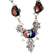 Dichroic Glass Necklace/Crystal Earrings