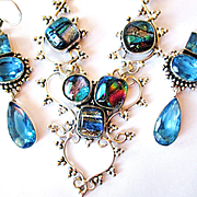 Dichroic Glass Necklace/Bracelet/Crystal Earrings