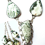 Moss Agate Necklace/Earring Set
