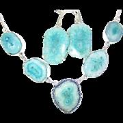 Aqua Solar Quartz Druzy Necklace/Earring Set